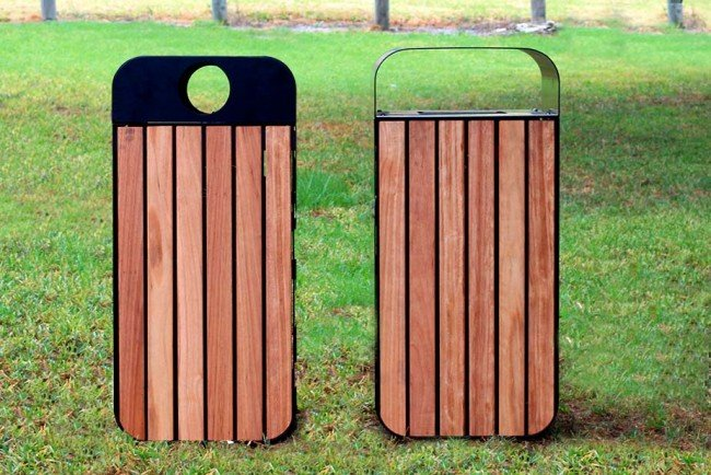 LR6535 Recycling and Rubbish Lids (Australian hardwood timber, powdercoated)