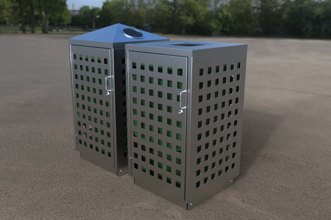 Stainless Steel Body with Square perf with Flat Lid & Recycling High Lids