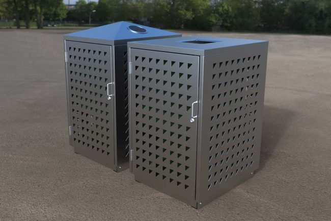 Stainless Steel Body with Triangular perforations. Flat and Recycling High lids.
