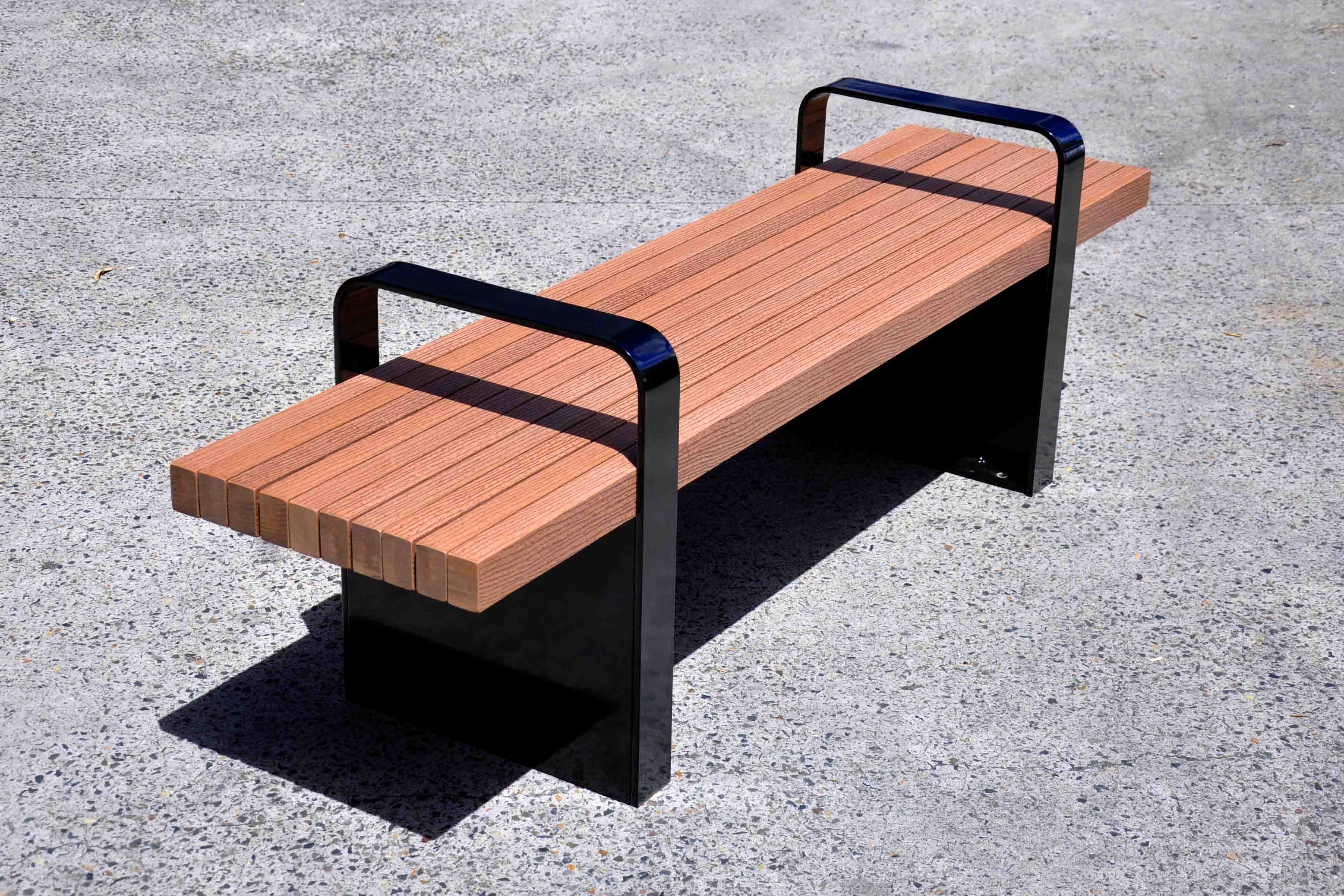 bench with arms. TM4505 (Enviroslat Battens, Powdercoated Frame) Bench With Arms