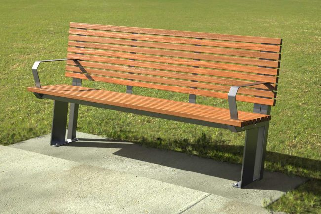 Septem Seat Timber and Monument Powder coated