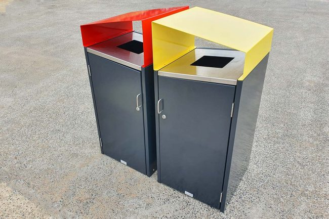 Rubbish & Recycling pair. powdercoated Charcoal with Signal Red & Lemon Yellow canopies.