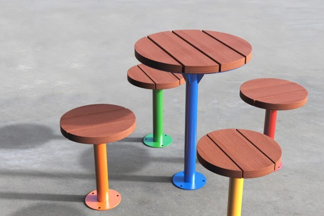 TM4712-11 550 OD Powder Coated Table with Circular Stools