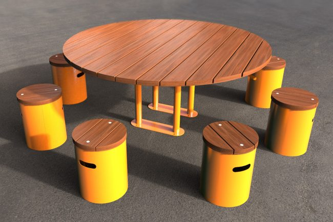 TM4713-10 Large Circular Picnic Setting Powder Coated