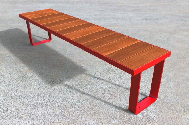 Single module bench. Powder coated red, timber battens.