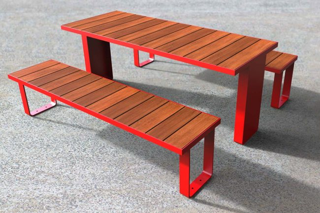 Single module picnic setting. Powder coated red, timber battens.