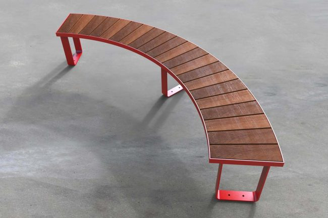 IR1500mm, 90deg bench. Powder coated red, timber battens.