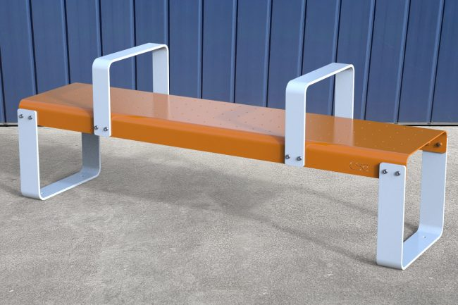 Edge Bench with Arms. Orange bench base with White legs & arms